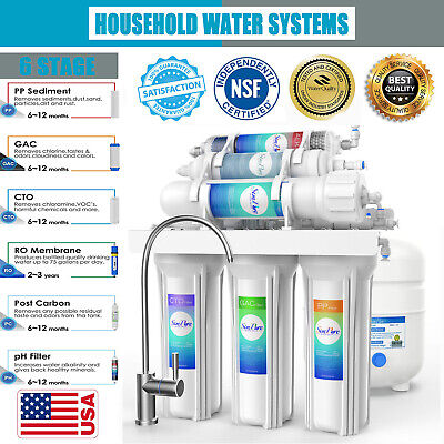 6 Stage PH Alkaline Reverse Osmosis Drinking Water Filter Sy