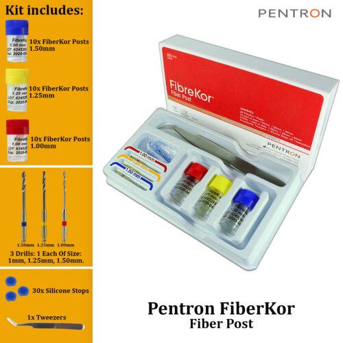 Dental Pentron FibreKor 30 Radiopaque Fiberglass Root Canal Posts and 3 Drills
