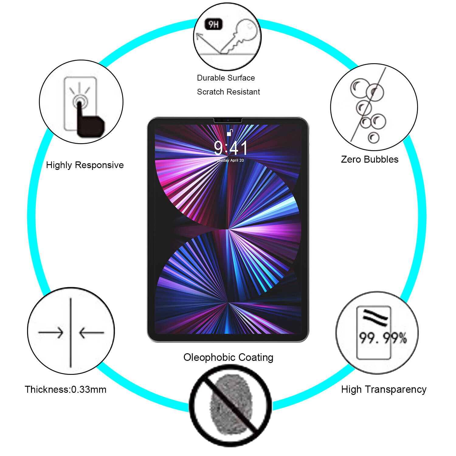 For iPad Pro 11-inch 2021/2020/2018 Clear Tempered Glass Screen Protector Film Cell Phone Accessories