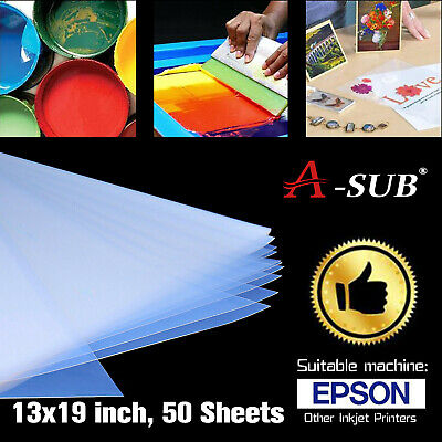 A-sub 50 Sheets 13x19 Waterproof Inkjet Silk Transparency Film Screen Printing