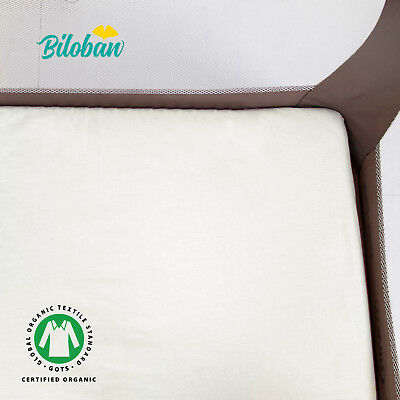 "Organic Baby Sheets - Pack N Play Mattress Sheets for Portable Mini Crib Organic Cotton 2 Pack 39""x27"""