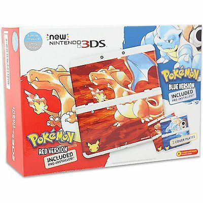 New Nintendo 3DS Pokemon 20th Anniversary Red & Blue Edition Console Bundle