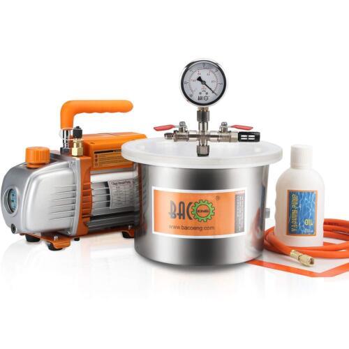 BACOENG 5.7L Vacuum Chamber & 3.6CFM Vacuum Pump Degassing Moudling Casting