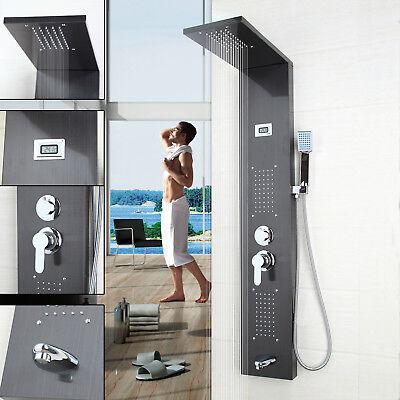 Enjoyable Black Massage Jets Spray Bathroom Shower Screen Panel&Hand Shower Set ()