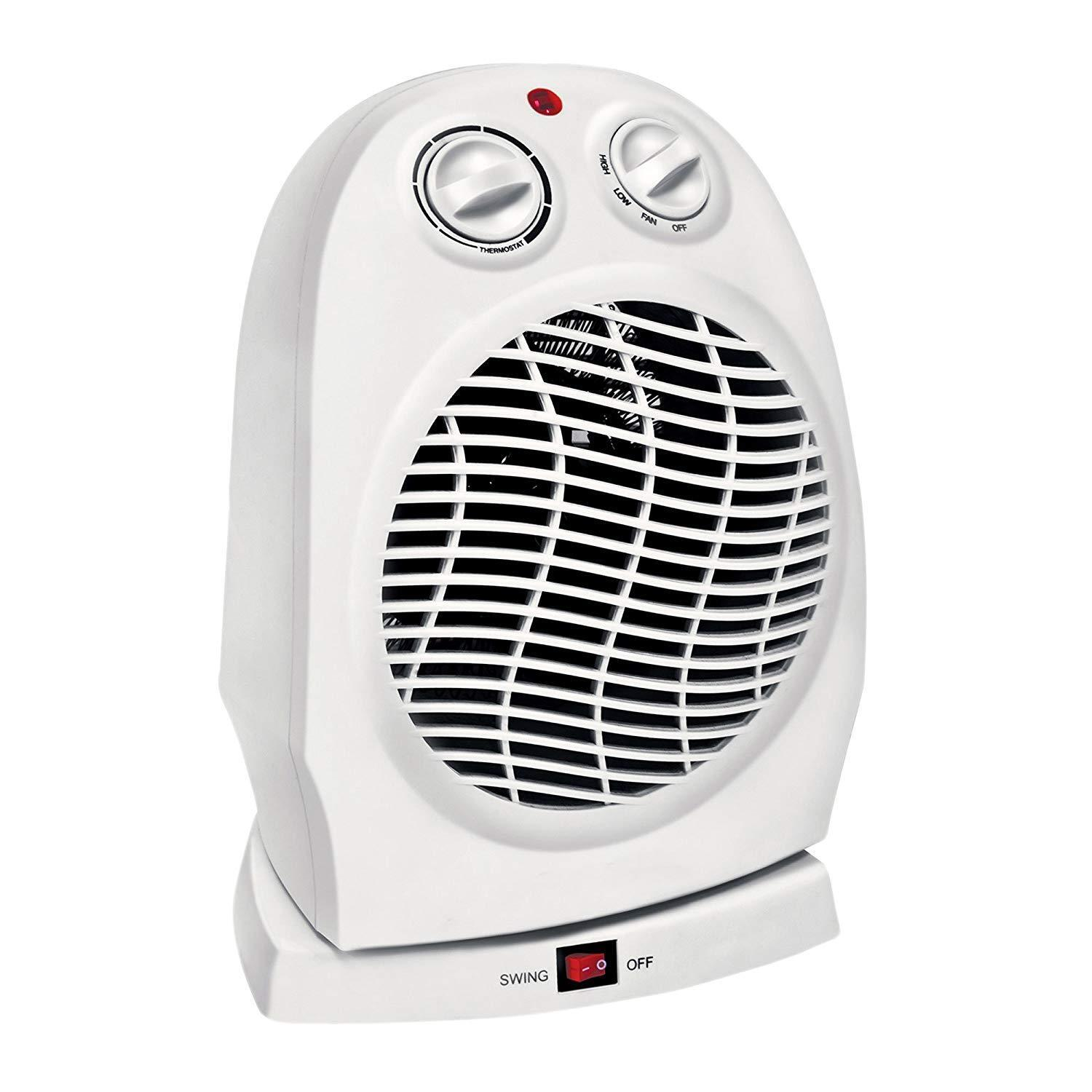 Oscillating Compact Space Heater Fan Portable Home 1500W, Adjustable Thermostat Heating & Cooling Appliances