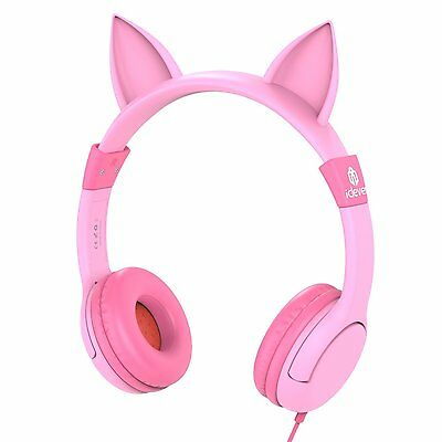 Iclever Pink Cat Ear For Girls Boy Kid Volume Limited Cute Headphone Birthday