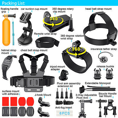 Chest Strap Floating Mount Accessories Kit For GoPro Hero 5 4 3 2 Sports Camera