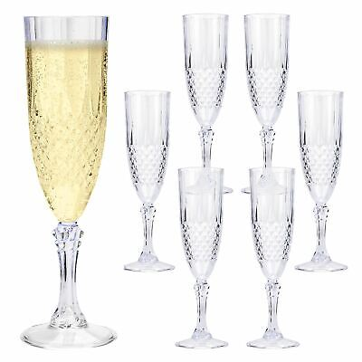 6 x VINTAGE CRYSTAL CHAMPAGNE FLUTE GLASSES WINE PROSECCO PLASTIC ACRYLIC