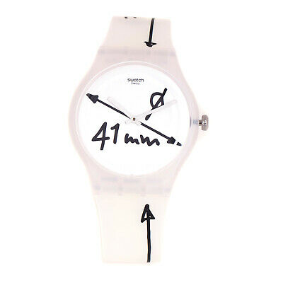 Swatch DRAWING SUOW152 Men's White Dial 41mm Pencil Design Clear Strap Watch
