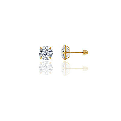 14k Solid Yellow Gold Super Bright Clear CZ Studs Basket Setting Round Screwback