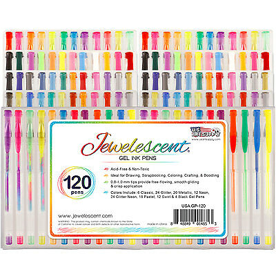 US Art Supply Jewelescent 120pc Gel Pen Set Classic Glitter Metallic (60 Colors)