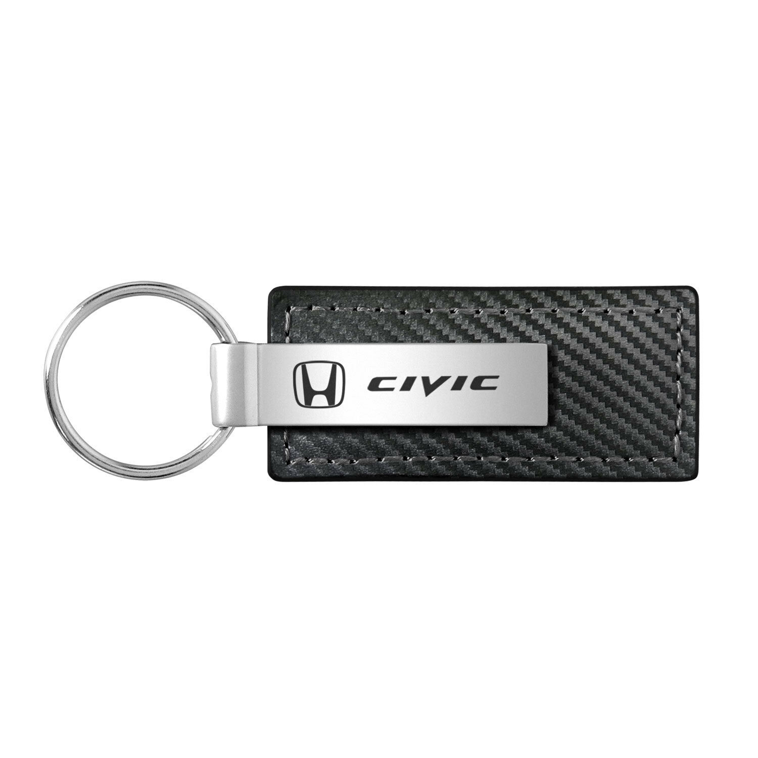 Honda Civic Black Carbon Fiber Look Leather Key Chain