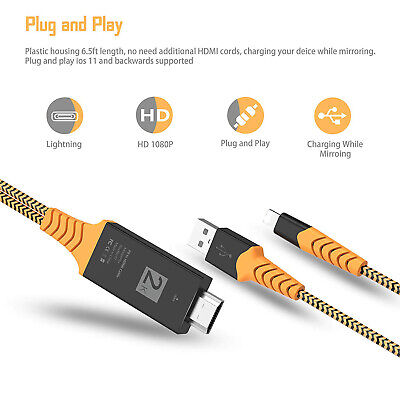 Lightning to HDMI Cable Cord 1080P Digital TV AV Adapter for iPhone 11 X Xs Xr 8