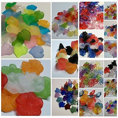 Acrylic Lucite Flower & Leaves Beads 15 Mixes to Choose From! 8mm - 32mm - Lucite Flower Bead Mix