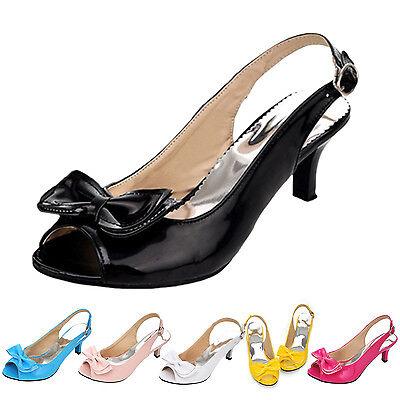 Lack Slingback Pumps Abend Schuhe mid High Heels Damen Sandalen Gr 34-44 VANCY  Peep Toe Slingback Heels Schuhe