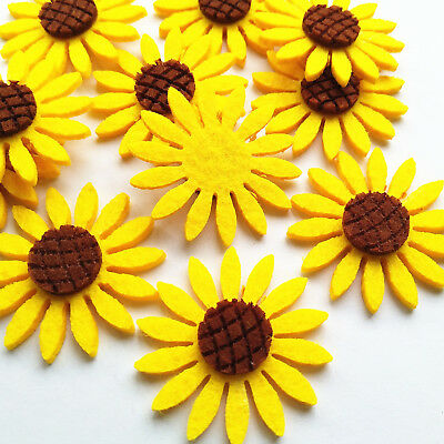 Yellow Sunflower Felt Padded Applique Clothes Sewing Diy Craft Flower