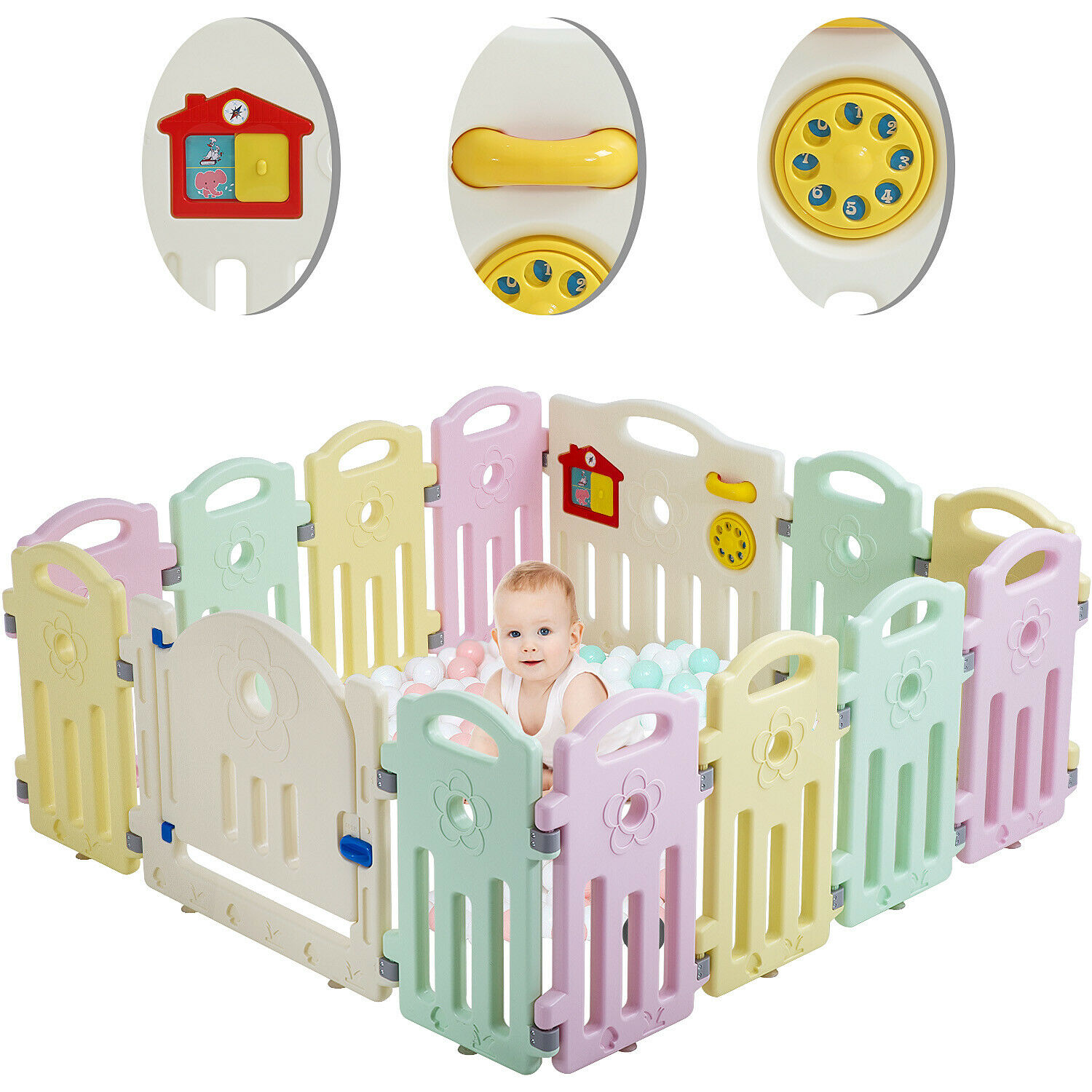Baby Playpen Playard 14 Panels Safety Kids Indoor Baby Fence W/ Activity Board | eBay
