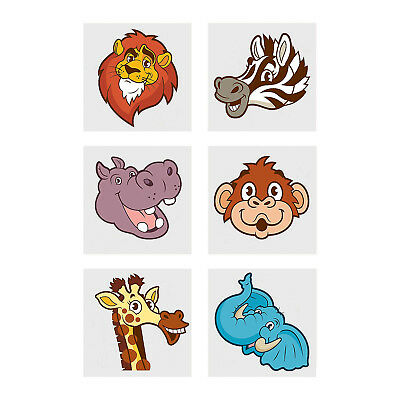 Safari Tattoo (JUNGLE SAFARI PARTY Zoo Animals Tattoos Favours Tattoo Pack of 36 Free)