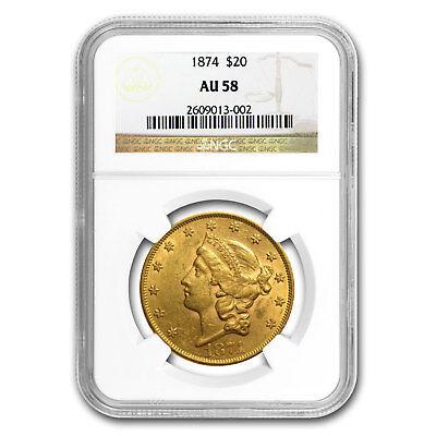 1874 $20 Liberty Gold Double Eagle AU-58 NGC - SKU#78517