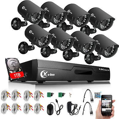 XVIM 8CH 1080N DVR 1500TVL Outdoor Night Vision Home Security Camera System 1TB