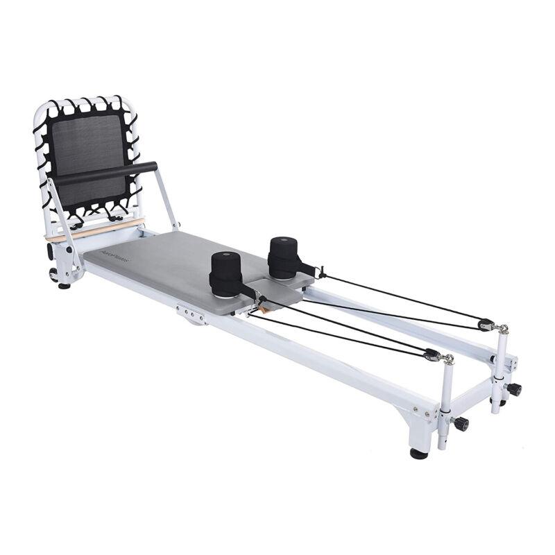 AeroPilates Precision Series Reformer Machine for Home Exercise Workouts, White