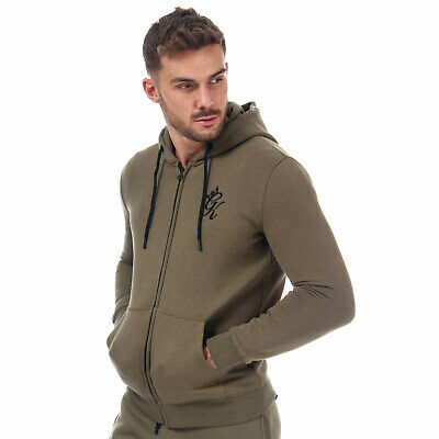 Mens Gym King Core Full Zip Cotton Blend Hooded Sweatshirt In Olive Green