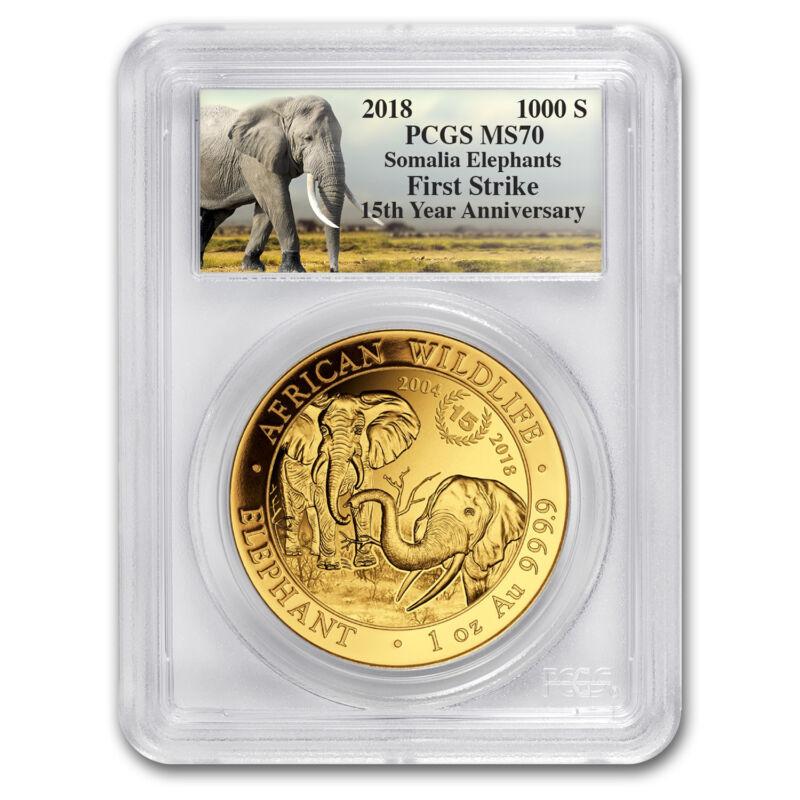 2018 Somalia 1 Oz Gold Elephant 15th Ann. Jubilee Ms-70 Pcgs (fs) - Sku#163734