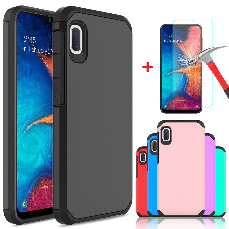 For Samsung Galaxy A10e A20 A50 Hybrid Phone Case Cover / Glass Screen Protector