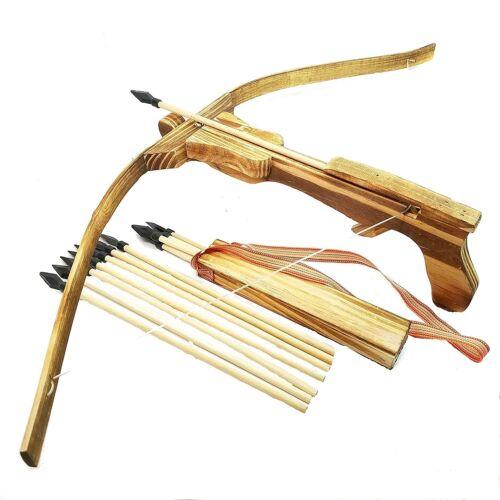 Armbrust Set Bambus Holzarmbrust Bogen mit 10 Gummi Pfeile & Köcher für Kinder