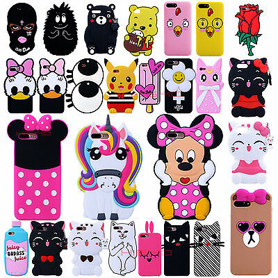 3D Cute Animals Cartoon Soft Silicone Case Cover Back Skin For Iphone 7 7 Plus