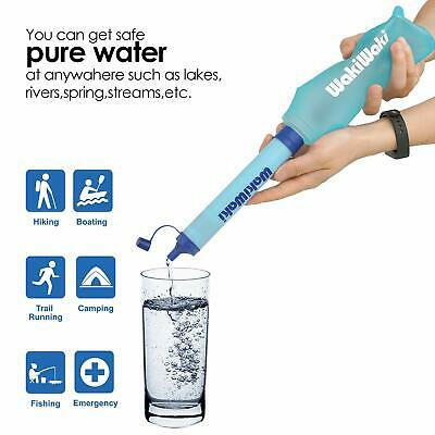 Outdoor Squeeze Water Bottle Filter Straw Hollow Fibers System Emergency Gear