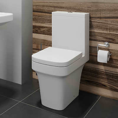 Modern Bathroom Toilet Close Coupled WC Soft Close Seat Cistern Pan Square White