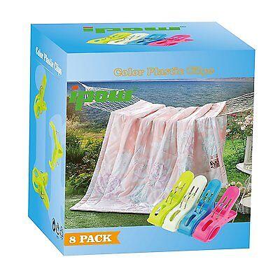 Ipow® 8 Stück große Wäscheklammern Kunststoff Clips Quilt Clips Original