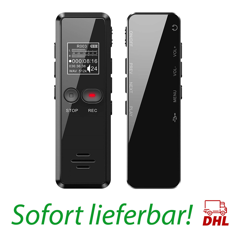 Digitales Diktiergerät, 8GB 1536kbps hohe Aufnahmequalität, Geräuschreduzierung