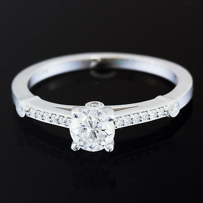 2/3 carat tw GIA Certified Diamond Ring 14k White Gold 1/2 ct F SI2 Round Center