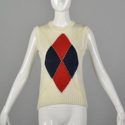 80s Sweatshirts, Sweaters, Vests | Women XS Cream Sweater Vest 1980s Preppy Argyle Sleeveless Ribbed Knit Costume 80s VTG $40.80 AT vintagedancer.com