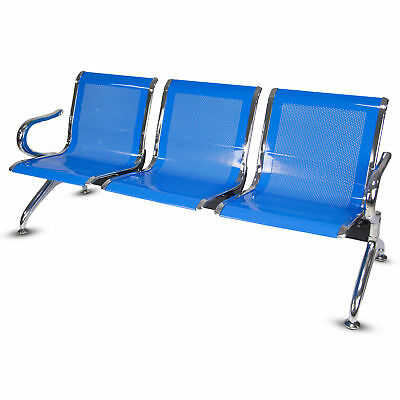 3 Seat Heavy Duty Office Bench Bank Airport Reception Waiting Room Chair Blue