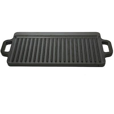 Cast Iron Reversible Grill Griddle 17 x 9 Pan Hamburger Stea