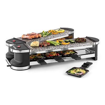 Raclette Tisch Grill Naturstein Platte 8 Personen Fettarm Grill Klappbar 1200W