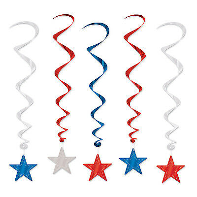 4th Of July Election Party Decoration Hanging PATRIOTIC STAR WHIRLS Swirls - 4th Of July Party Decorations