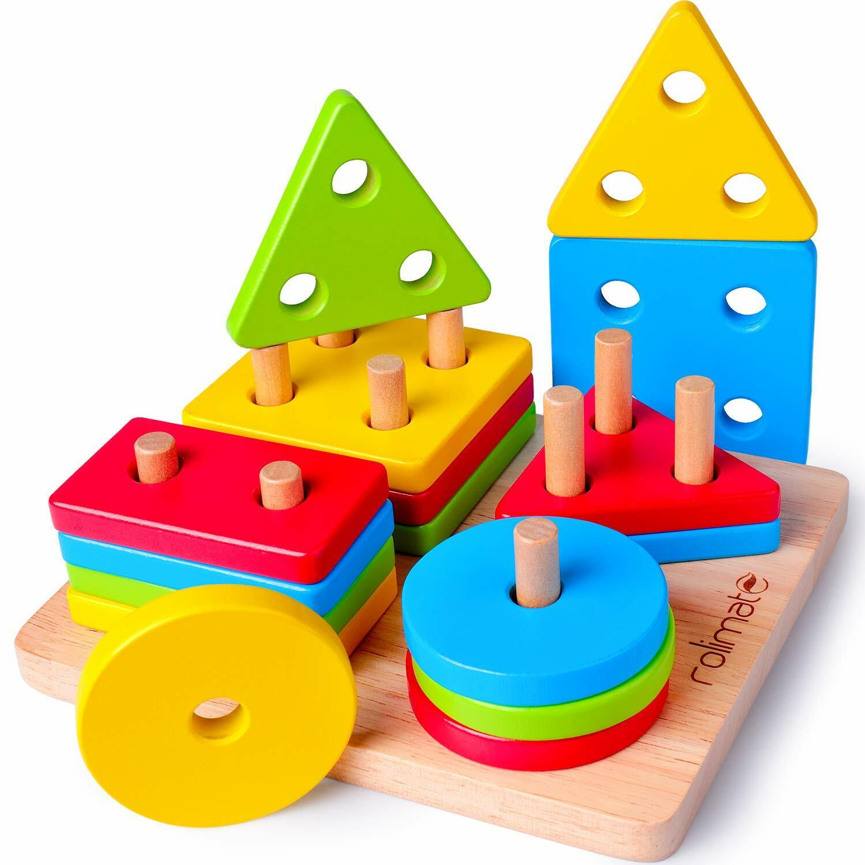 Wooden Shapes Blocks Toy Puzzle Shape Sorter Educational Bab