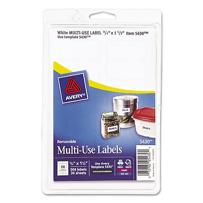 Avery Removable Multi-use Labels 34 X 1 12 White 504pack 05430