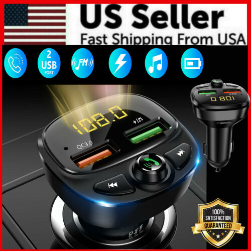 Wireless Bluetooth 5.0 FM Transmitter QC3.0 Hands-Free Radio AUX Adapter Car Kit