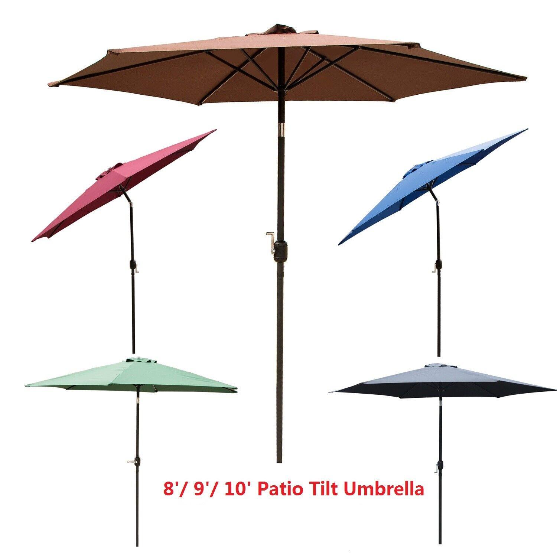 8/9/10 ft Patio Umbrella Tilt Crank Outdoor Market Garden Su