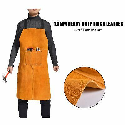 Double Stitched Split Leather Welding Apron With 3 Pockets /&Tie down Strap 24x42