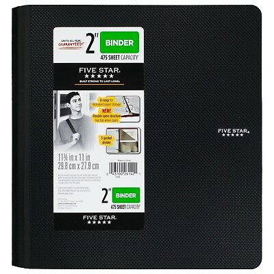 Five Star 2 Inch 3 Ring Binder Plastic Black 73298