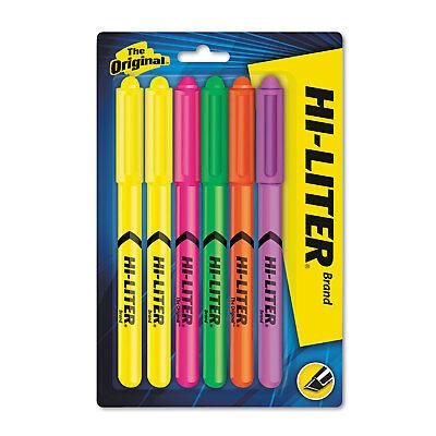 Hi-liter Pen Style Highlighter Chisel Assorted Fluorescent Colors 6set 23565