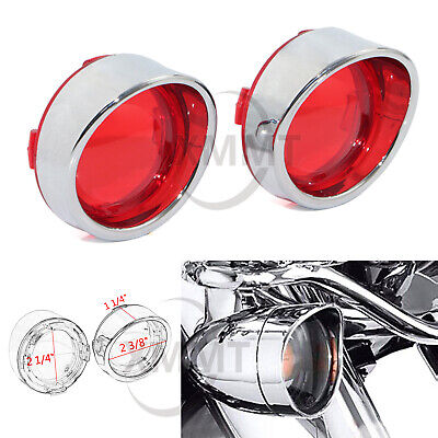 Red Turn Signal  Lens Covers With Chrome Trim Ring Visor for Harley Dyna Softail