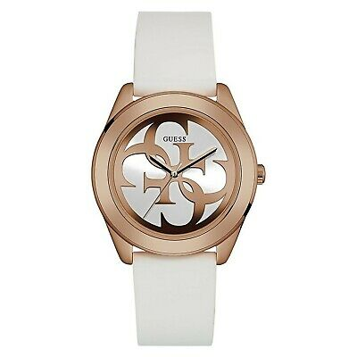 GUESS G TWIST Women's Gold Tone Stainless Steel & White Rubber Watch W0911L5