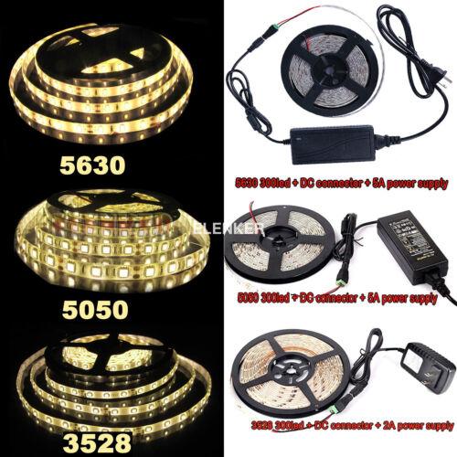 5M 10M SMD 3528 5050 5630 300LEDs RGB White LED Strip Light 12V Power Supply US